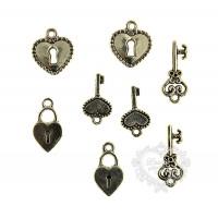 Kit Chaves e Cadeados em Metal - 8 peças..
