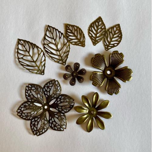 Kit 4 Flores e Folhas Metal