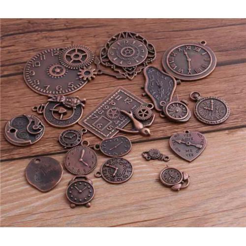 Mini Relógios em Metal Sortidos Steampunk - aprox 10 un - Cobre Velho