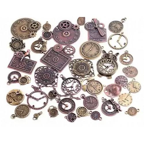 Mini Relógios em Metal Sortidos Steampunk - aprox 20 un - Ouro Velho e Cobre Velho