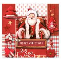 Guardanapo Red Christmas Collage With Sa..