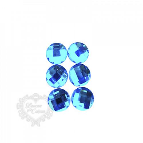 Chaton Redondo Sextavado 20mm - 6 unid - Azul Turquesa
