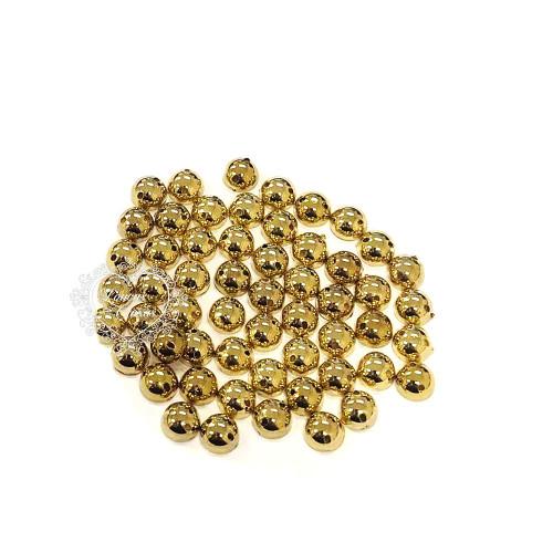 Chaton Para Costura Redondo Liso 6mm - 5g - Dourado