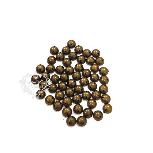 Chaton Para Costura Redondo Liso 6mm - 5g - Ouro Velho