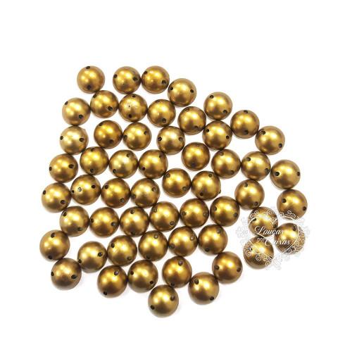 Chaton Para Costura Redondo Liso 10mm - 5g - Ouro Velho
