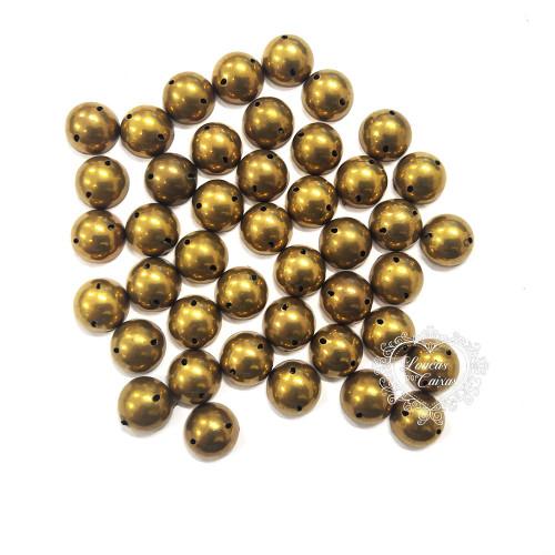 Chaton Para Costura Redondo Liso 10mm - 5g - Dourado Fosco