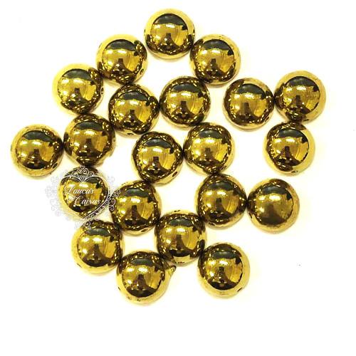 Chaton Para Costura Redondo Liso 12mm - 5g - Dourado
