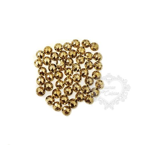 Chaton para Costura Redondo Sextavado 8mm Dourado - 5g