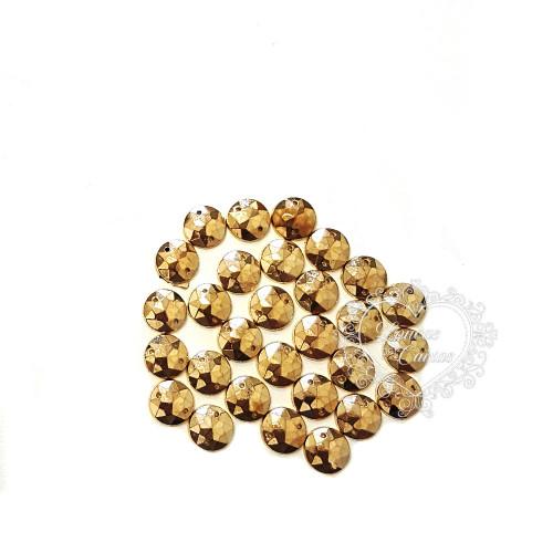 Chaton para Costura Redondo Sextavado 10mm Ouro - 5g