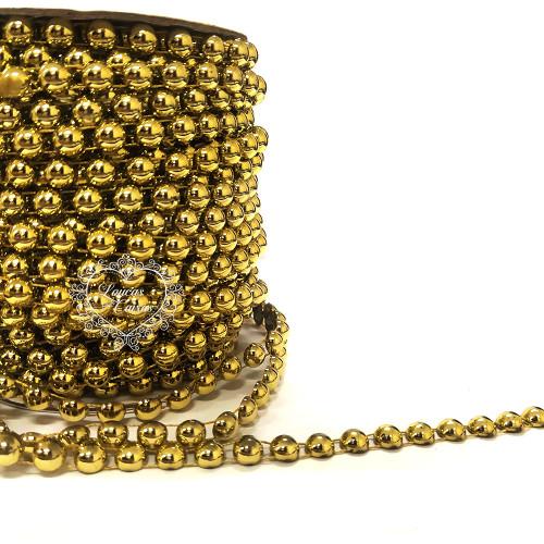 Cordão de Chatons 8mm Dourado - 1m