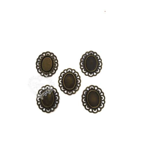 Medalhão Metálico 28x33mm para Chaton 13x18mm - 5 unid - Ouro Velho