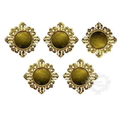 Medalhão Metálico Para Chaton 40mm - 5 unid. - Dourado