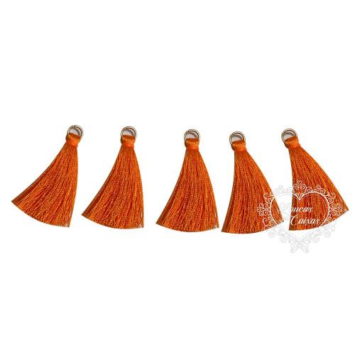 Pingente Pompom Tassel com Argola - 4cm - Laranja