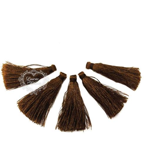 Pingente Pompom de Franja Tassel 5 unid. 4cm - Marrom Escuro