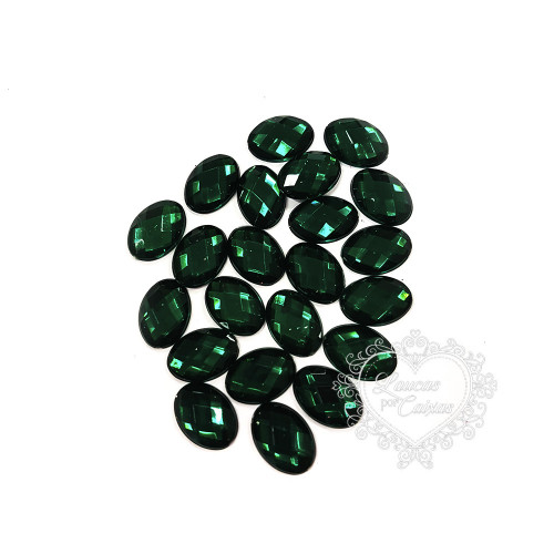 Chaton Oval 10x14 mm - 5g - Verde Escuro
