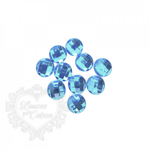 Chaton Redondo Sextavado 16mm - 5g - Azul Turquesa