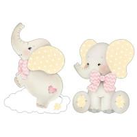 Aplique em Papel e MDF - Elefantes Bebês..