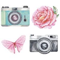 Aplique em Papel e MDF - Câmeras fotográ..