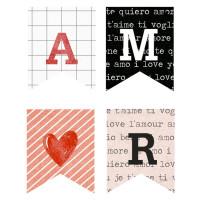 Aplique em Papel e MDF - Amor Aquarela B..