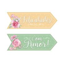 Aplique em Papel e MDF - Tag Felicidades..