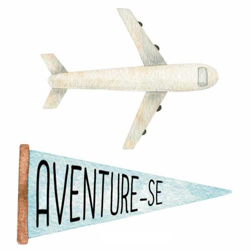 Aplique em Papel e MDF - Kit Viagem, avião e bandeirola