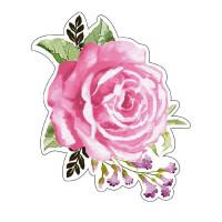 Aplique em papel e MDF - Rosas Aquarela ..
