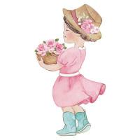 Aplique em MDF - Menina Mon Monde Rose..