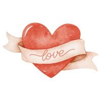 Aplique em MDF - Amor Aquarela Coração L..