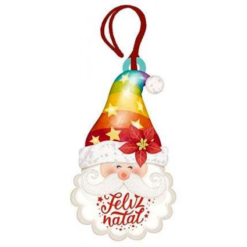 DECOR HOME TAG NATAL - Papai Noel Toca Colorida Feliz Natal