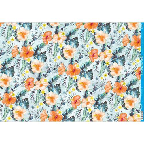 Papel Decoupage - Floral Tropical - 49x34,3 cm