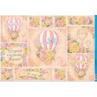 Papel Decoupage - Balão, Textos e Flores..