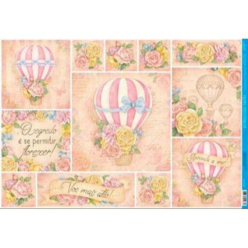 Papel para decoupage balão, textos e flores -  49 x 34,3