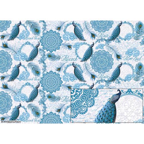 Papel para Presente - Pavão Azul e arabescos