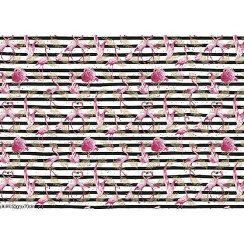 Papel para Presente - Flamingos com listras pretas e brancas