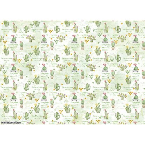 Papel para Presente - Cactus e Suculentas