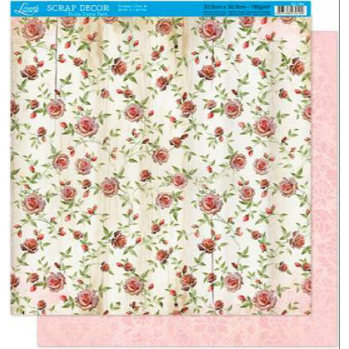 Papel Scrap floral - dupla face 30,5 x 30,5 - 180g