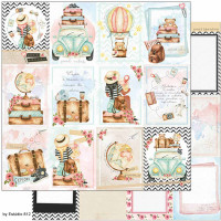 Papel Scrap Kit Viagem Cards, postais, f..