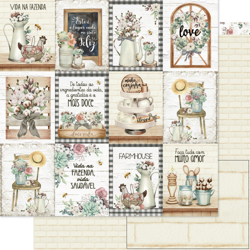 Papel ScrapBook Country  Tag- Dupla Face 30,5x30,5 - 180g