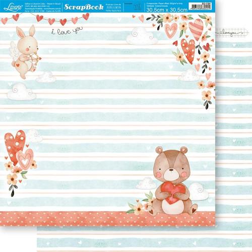 Papel ScrapBook Amor Aquarela Urso - Dupla Face 30,5x30,5 - 180g