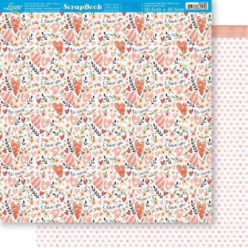 Papel ScrapBook Amor Aquarela Padrão - Dupla Face 30,5x30,5 - 180g