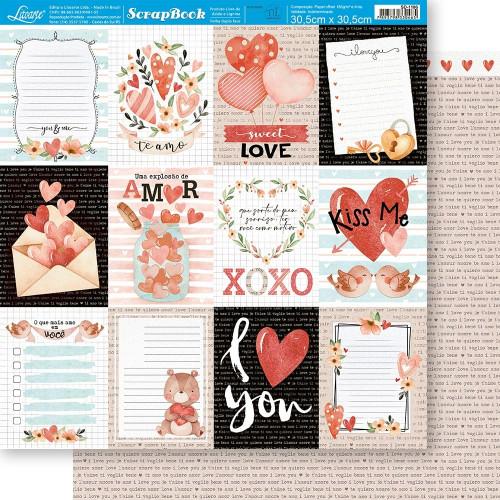 Papel ScrapBook Amor Aquarela Cards Tags - Dupla Face 30,5x30,5 - 180g