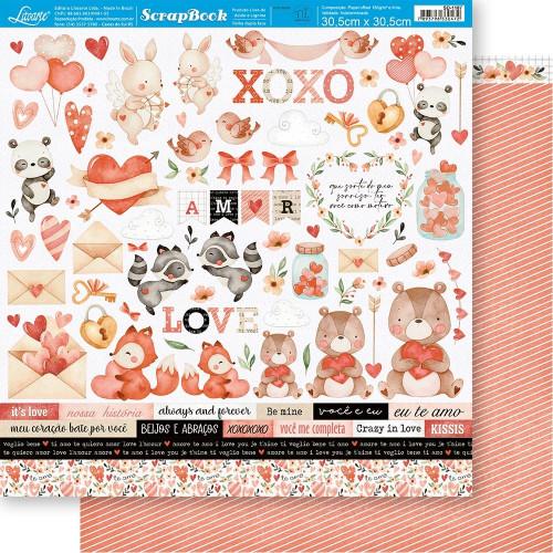 Papel ScrapBook Amor Aquarela Recortes - Dupla Face 30,5x30,5 - 180g