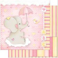 Papel Scrap Bebe Elefante Menina Fundo R..