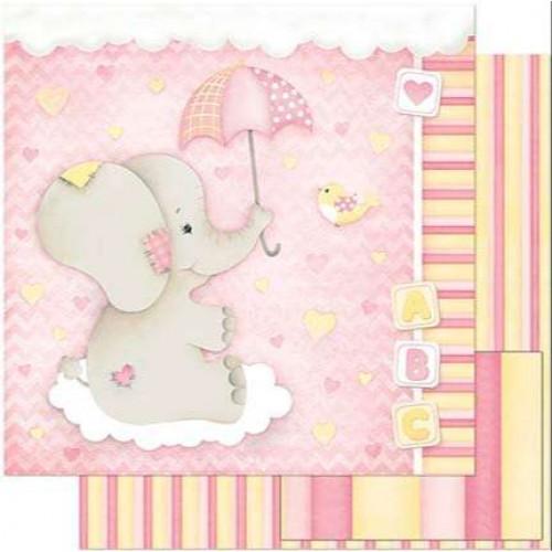 Papel Scrap Bebe Elefante Menina Fundo Rosa - dupla face 30,5x30,5 - 180g