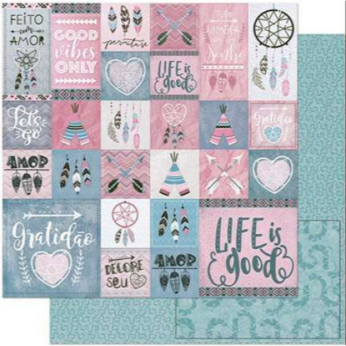 Papel Scrap Tags Tribais Rosa e Cinza - dupla face 30,5x30,5 - 180g