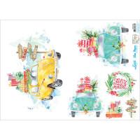 Slim Paper Decoupage Natal - Fuscas Aqua..