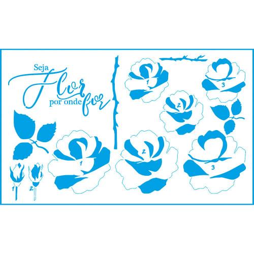 Stencil Flores Rosas e Frase - Sobreposição - 21x34,4 cm