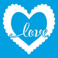 Stencil Coração Love - 10x10..
