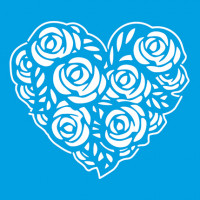 Stencil Coração de Rosas - 10x10..