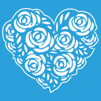 Stencil Coração de Rosas - 14x14..